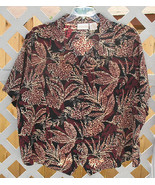 28 W Christie & Jill Leaf Print Weskit Blouse B... - $7.00