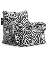 Zebra Print Accent Chair Bean Bag Armrest Plush... - $76.98