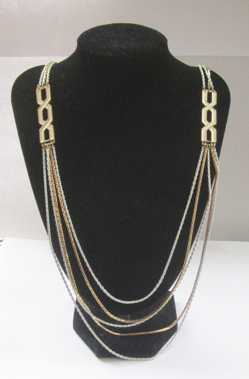 Monet Long Gold Tone & White Enamel Multichain Runway Necklace. c. 1970s