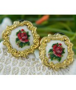 Vintage Earrings Needlepoint Embroidered Roses ... - $14.95
