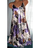 White Purple Floral Chemise Short Gown 2X Adjus... - $12.50