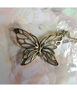 Butterfly Pendant Necklace Bronze Plated NIP - $5.00