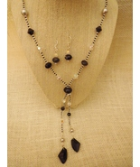 Black Swarovski Necklace and  Earrings with Bla... - $55.99