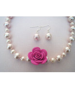 Polymer Clay Pink Flower Glass Pearl Necklace ... - $23.50