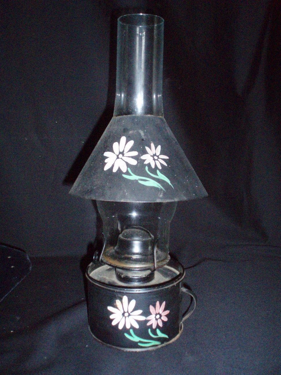 lantern lamp tin toleware kerosene oil finger lamp