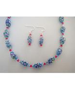 Millefiore Red Blue Aqua Glass Necklace Earring... - $36.99