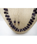 Two Strand Blue Goldstone Necklace Earrings Swa... - $62.99