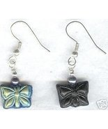 Peacock Color Glass Butterfly Earrings - $9.99