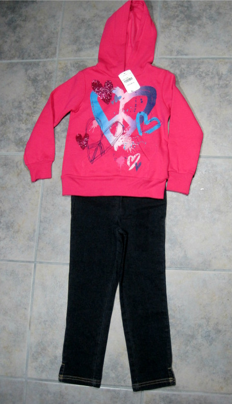 Girls Jeans Blue Denim Size 5 Okie Dokie Pink Sweatshirt Hoodie 2 pc Set