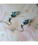 Blue Fishhook Earrings Two Tone Blue Silver Plate - $4.00