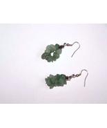 Green Gemstone Cluster Silver Plate Fishhook Ea... - $10.00