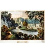 Sussex Vale Vintage Landscape Scene By Currier ... - $14.84
