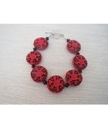 Red and Black Cinnabar Bracelet Sterling Clasp... - $23.99