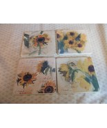 Set of 4 Ceramic Trivet/Coaster Cork backed sig... - $5.94
