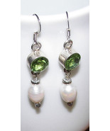 Sterling Silver  GREEN PERIDOT  WHITE FW PEARLS... - $21.99