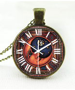 Faux Clock Man in the Moon Clock Face Necklace - $5.95