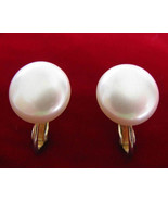 Marvella Faux Pearl Button Earrings Clip on - $12.00