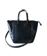 Authentic Zara Black Faux Leather Tote Shoulder... - $25.00