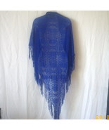 Long lacy shawl with fringe in royal blue - $12.00