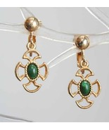 Vintage Avon Simulated Jade Earrings Baroque - $12.00
