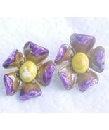 Wild purple w yellow Enamel Flower earrings cli... - $7.00