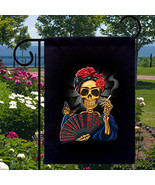 Frida Smoking Skull New Small Garden Flag Event... - $12.99