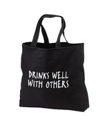 Drinks Well With Others New Black Tote Bag Trav... - $17.99