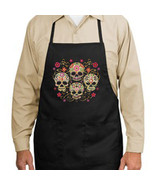 Gothic Sugar Skulls New Black Apron, Unique Day... - $19.99
