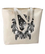 Charcoal Wolf Dream Catcher New Large Tote Bag - $18.99