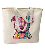 Neon Pit Bull Dog New Large Tote Bag Travel Eve... - $18.99