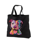 Neon Pit Bull Dog New Black Tote Bag Gifts Events - $17.99