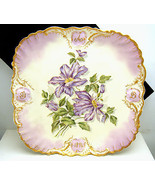 Antique D&C Limoges HP Iris Large Square Plate ... - $346.49