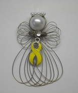 Sarcoma Awareness Yellow Ribbon Angel Ornament ... - $7.65