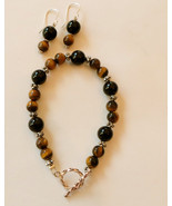 Handcrafted Tiger Eye and black onyx bracelet a... - $24.99