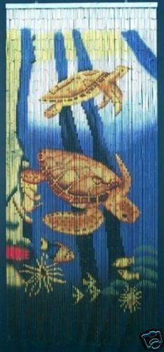 Bamboo Beaded Door Curtain-Sea Turtle Underwater Scene