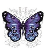 Blue and Purple Butterfly   Hooded Sweatshirt  ... - $24.70 - $32.62