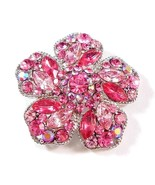 Flower Pin Brooch Pink Crystal Multicolor Silve... - $29.99