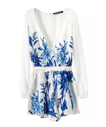 Fashionable Summer Floral V Neck White And Blue... - $65.90 - $65.90
