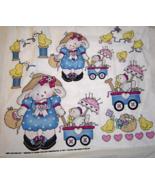 Daisy Kingdom Bunnies with Chicks in Wagons Fab... - $9.99