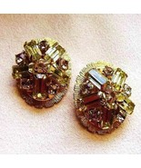 WEISS Vintage 1960s Peridot Crystals Clip On Ea... - $106.92