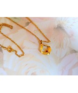 Vintage Red Crystal Goldtone Necklace 16in Chain  - $12.49