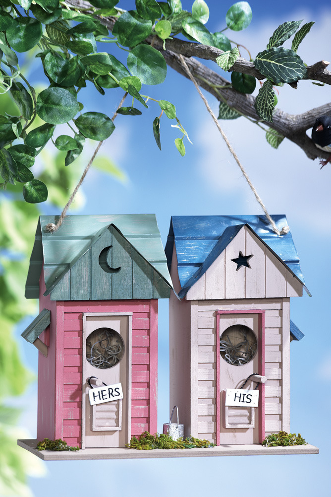 Image 1 of   His & Her Outhouses Decorative Birdhouse