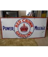 Vintage Sign Red Crown Gasoline Power Milage Si... - $1,747.44