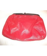 Vintage RED Leather Lucite Plastic Frame Clutc... - $19.78