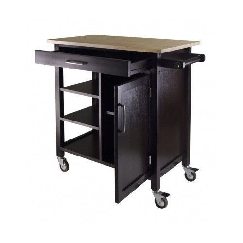 Kitchen Cart Rolling Storage Island Wood Cabinet Utility