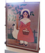 My gril and her Duck Art Painting Acrylic Folk ... - $54.00