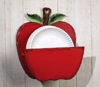 Country kitchen red apple paper plate holder home decor for Apple home decoration