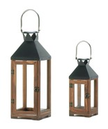 2 Harford Candle Lanterns Wood Frame - $45.00