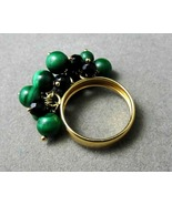 18k Gold Dangle Ring Malachite Onyx Movable 3D ... - $245.00