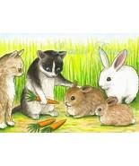 ACEO art print Cat 347 rabbit fantasy LE by L.D... - $4.99